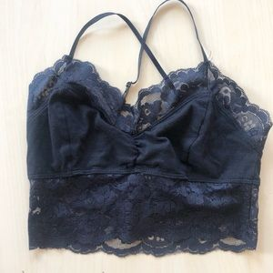 Black Bralette with Lace Trim
